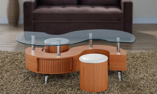 Madrid S Coffee Table And Stools | Groupon Goods