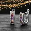 Lesa Michele Rainbow Emerald-Cut Cubic Zirconia Hoop Earrings