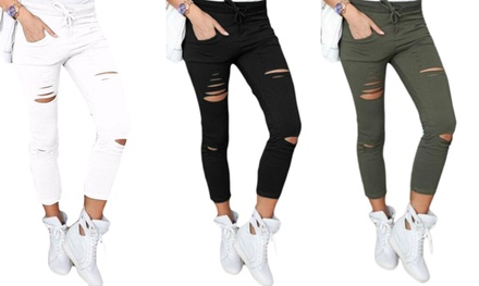 One or Two Pairs of Womens Ripped Skinny Stretchy Trouser Leggings