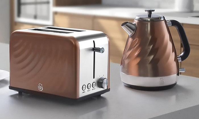 Swan copper twist kettle 2200w and toaster 815w set new for Kitchen set kettle toaster