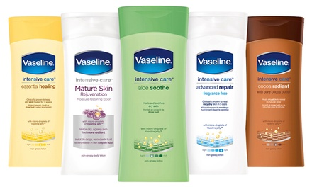 Three or Six 400ml Packs of Vaseline Intensive Care Body Lotion