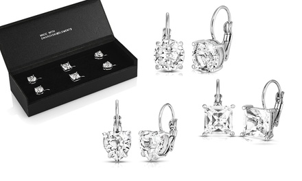 One (£9.98) or Two (£18.98) Packs of Three Drop Earrings with Crystals from Swarovski® (Up to 89% Off)