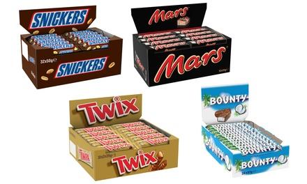 Bounty, Mars, Snickers et Twix: 24 ou 32 Barres de chocolats avec 2 sacs édition spéciale