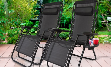 One or Two ZeroGravity Folding Chairs with Optional Sun Shade or Table