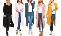Isaac Liev Women's Lightweight Extra-Long Cardigan. Plus Sizes Available.