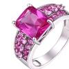 18K White Gold Plated 5.00 CTTW Genuine Ruby Corundum Ring (10)