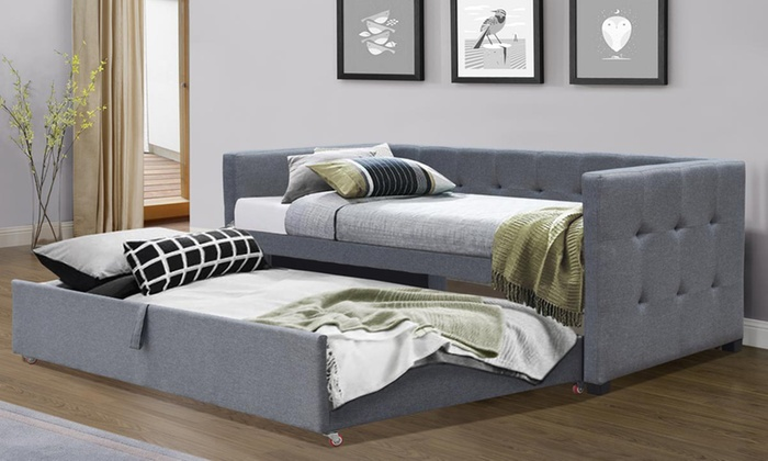 Grey Fabric Day Bed with Pull-Out Trundle with Two Optional Memory Foam Mattresses from £275