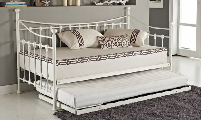 French-Style Day Bed with Optional Trundle and Memory Foam Mattress from £100