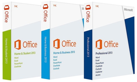 Microsoft Office 2013 in verschillende versies