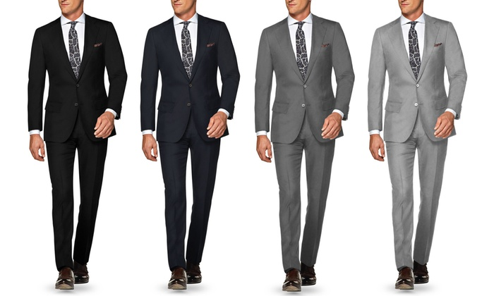 85% Off on Verno Men's Slim Fit Wool Suits | Groupon Goods