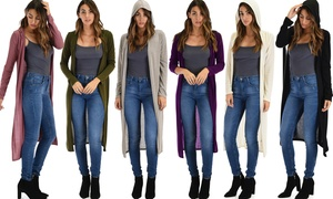 Lyss Loo Cover Me Up Women's Long-LineHoodedCardigan(1- or 3-Pack)