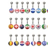 Stainless Steel Country Flag Bellybutton Rings
