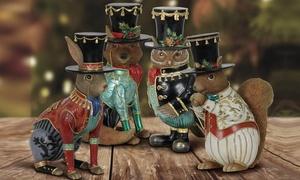 Christmas Woodland Animal Figures in Top Hats