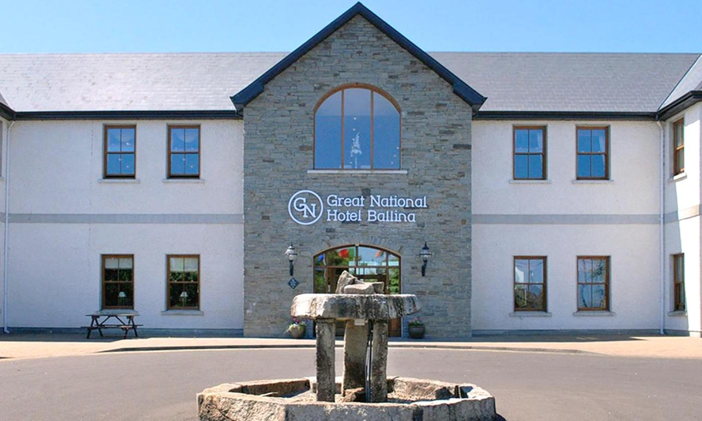 Ballina: 2 Nights for 2 with Leisure, Late Check-Out and Optional Dinner and Massage at 4* Great National Hotel Ballina