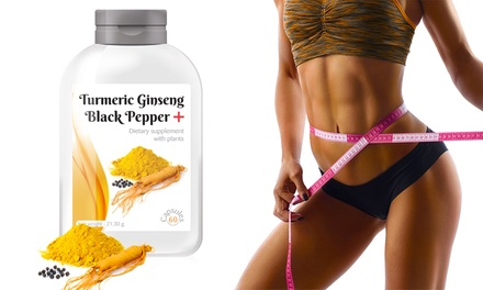 60, 120, 240 or 480 Turmeric Ginseng Black Pepper + Dietary Supplement Capsules
