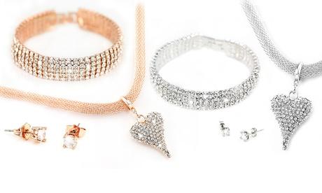Collar, pulsera y pendientes con cristales Swarovski®