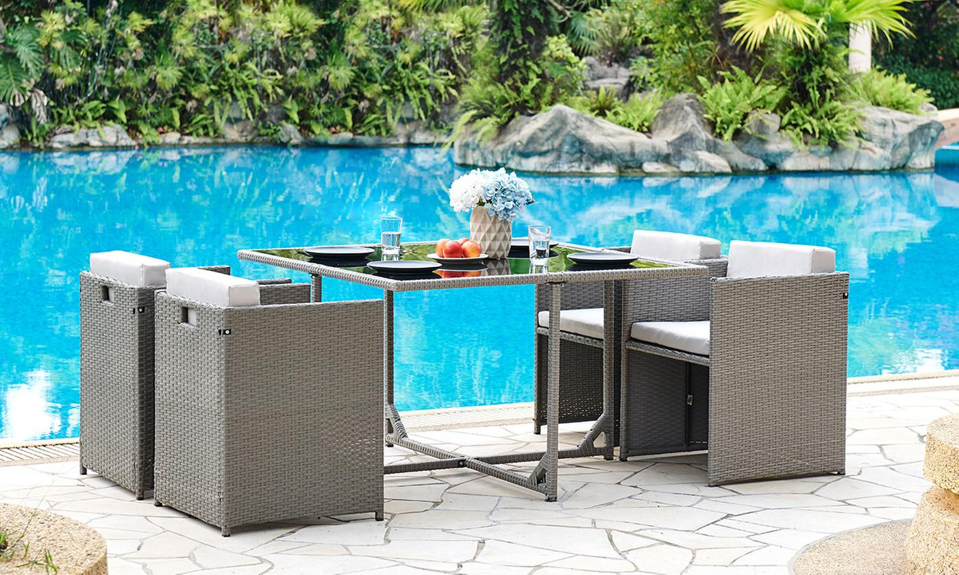 Sienna Five-Piece Rattan-Effect Cube Garden Furniture Set with Optional Cover (£249.98)