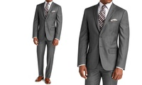 Vincent Moretti Mens Slim-Fit Sharkskin Suit (Grey)