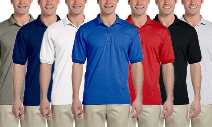 d30036e8f Gildan Men's DryBlend Jersey Polo Shirts (4-Pack) | Groupon