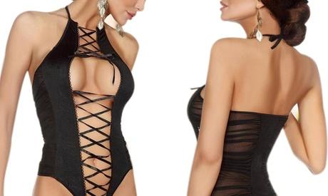 Body sensual negro con transparencias Oferta en Groupon