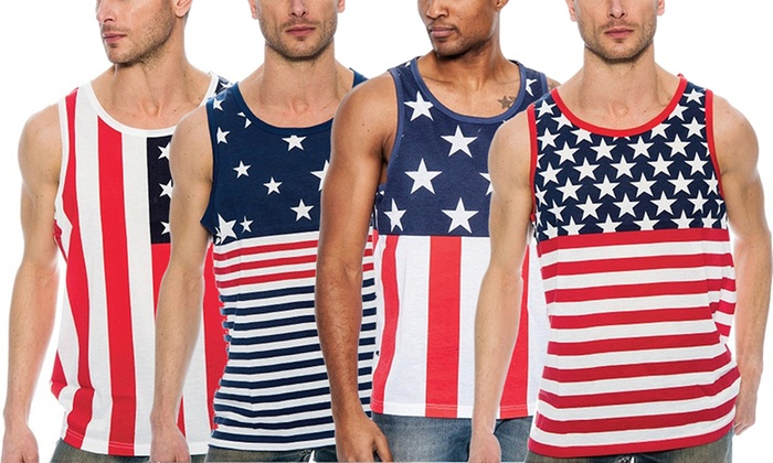 Men's USA Flag Stars and Stripes Summer Tank Top