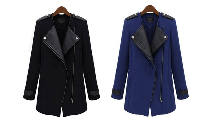 Ameec Shenzhen Technology Co (NZ): $35 for One or $59 for Two Women's PU-Leather Trims Oblique Coats