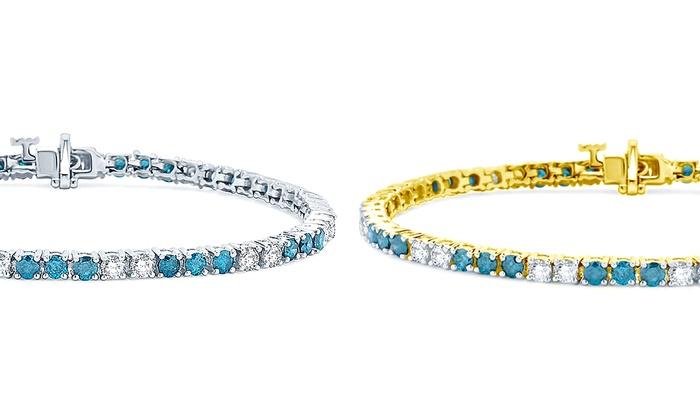 5.00 CTTW Blue and White Diamond Tennis Bracelet in 14K White or Yellow Gold by Brilliant Diamond