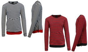 Men's Striped Long-Sleeve Pullover with Side Zipper