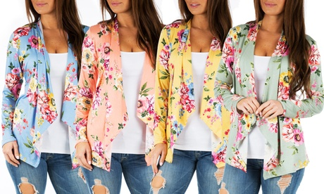 Women's Basic Draped Floral Cardigan