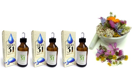 Fino a 4 confezioni di olio 31 da 100 ml a base di oli essenziali puri estratti da 31 piante officinali