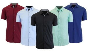 d903bc09f Galaxy by Harvic Men s Short Sleeve Slim-Fit Dress Shirt (4-Pk