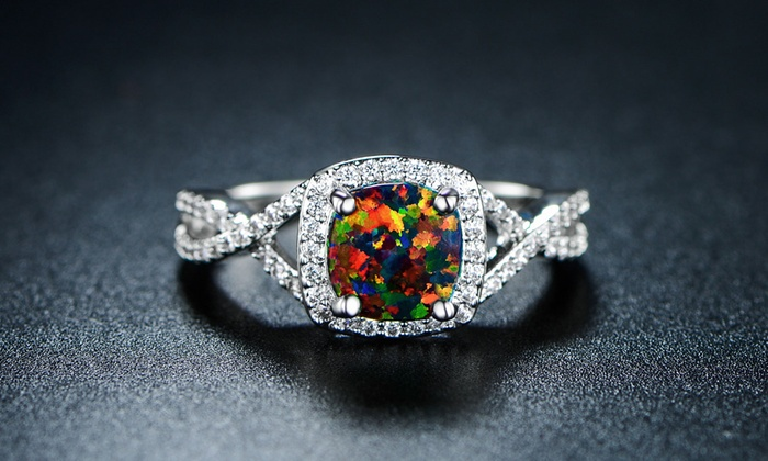 sapphire size item white cz engagement women opal rings hot black pink