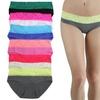 Women's Cotton Bikini Panties with Contrast-Lace Waistband (6-Pack)