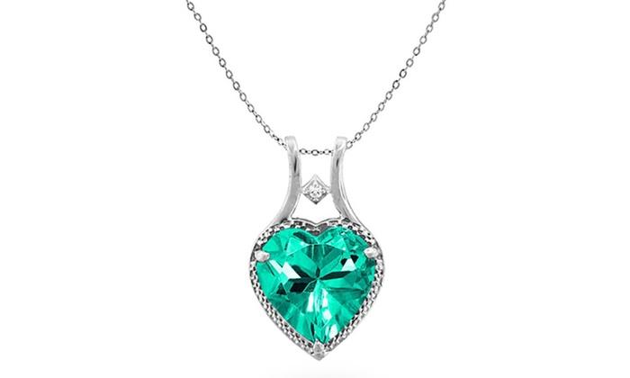 550 ctw genuine diamond and paraiba tourmaline heart pendant groupon 550 ctw genuine diamond and paraiba tourmaline heart pendant aloadofball Image collections