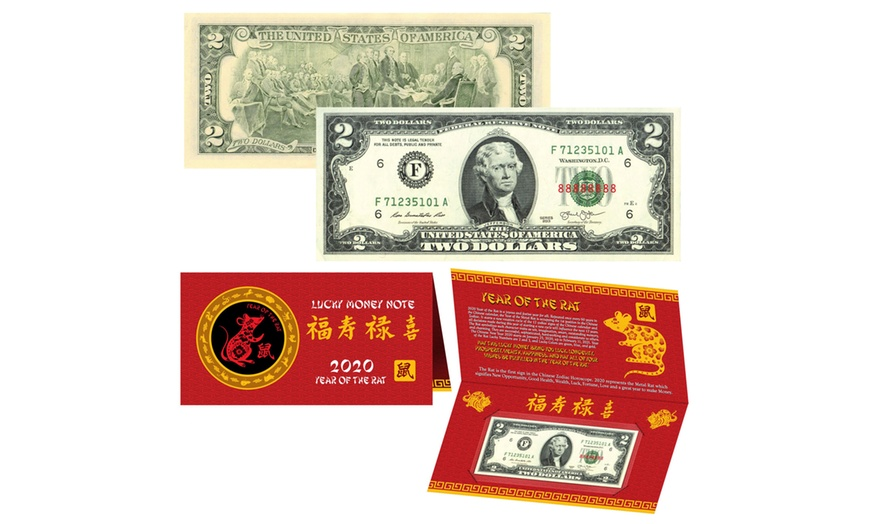 2020 Lunar Chinese New YEAR of the RAT Art Lucky Two-Dollar Bill w//Red Folder S//N 88