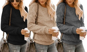 Leo Rosi Women's Fitted Sherpa Sweatshirt. Plus Sizes Available.
