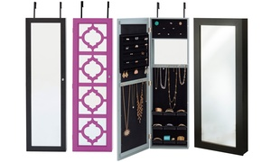 Wall-Mounted or Over-the-Door Mirrored Jewelry Armoires