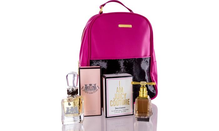 Juicy Couture Gift Set with Free Backpack 3 Women Spray Floral Eau de Parfum 94f7e8884d81