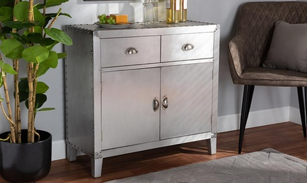 Tara French Industrial Silver Aluminium 2-Drawer 2-Door Storage Cabinet
