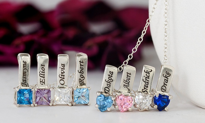 Mother's Necklace with One, Two, Three, Four, or Five Birthstone Charms from Monogramhub.com