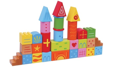 30-Piece Wooden Building Blocks