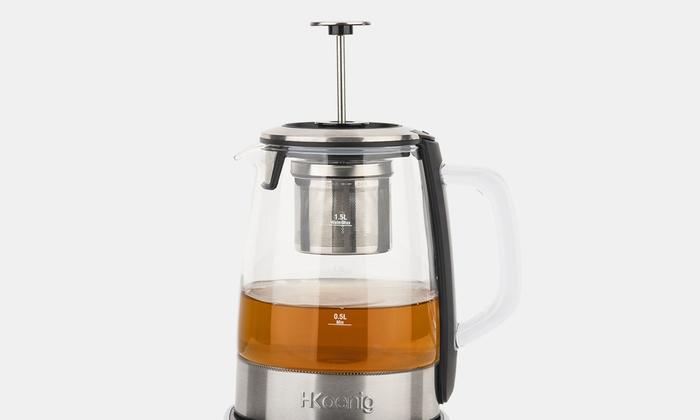 Bouilloire infuseur à thé en verre 1,5L avec température réglable H.Koenig, livraison offerte