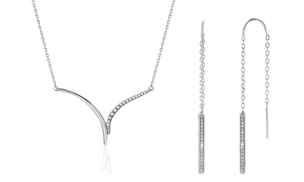Diamond Accent Pull-through Earrings & V Necklace in Sterling Silver