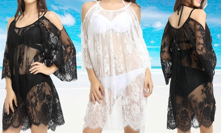 $19 for an Open Shoulder Lace Beach CoverUp Dress in Choice of Colour Don't Pay $59.95