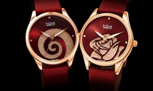 Women's Burgi Swarovski Swirl Diamond-Marker Satin Leather-Strap Watch
