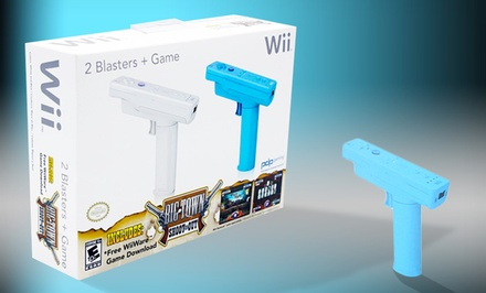Nintendo Wii Blaster 2-Pack with Big Town Shoot Out Game. Free Returns.