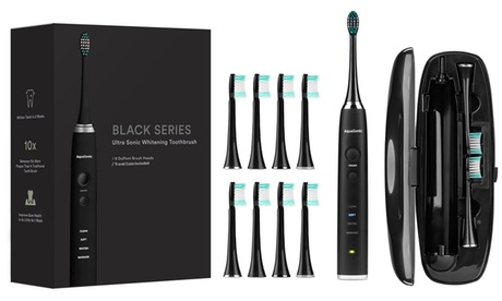 AquaSonic Ultrasonic Toothbrush with 8 Dupont Brush Heads and Travel Case