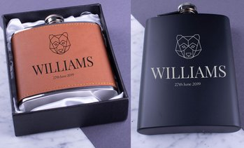 Personalised Metal or Leather Flask