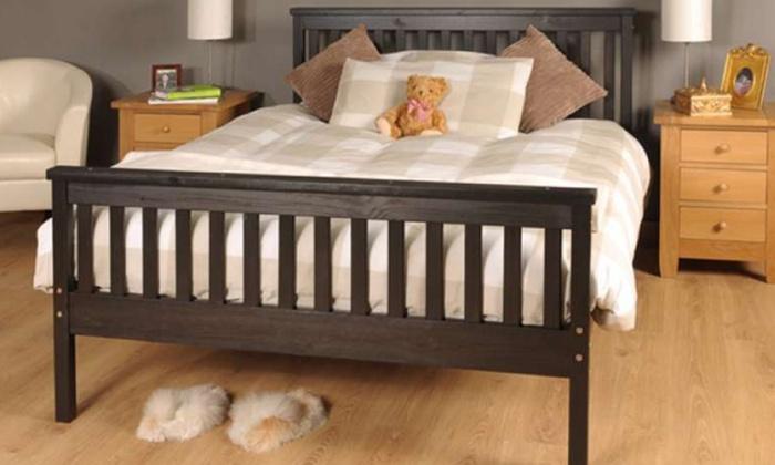 Sardinia solid wood bed groupon goods for Beds groupon