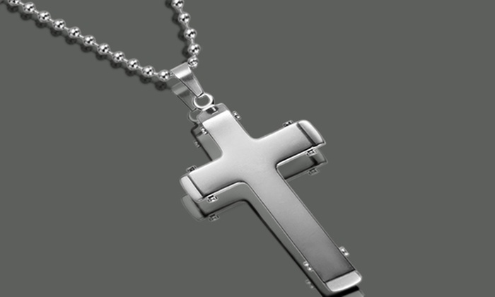 Up to 56 off on stainless steel cross pendant groupon goods stainless steel cross pendant necklace aloadofball